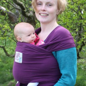plum stretchy wrap in countryside