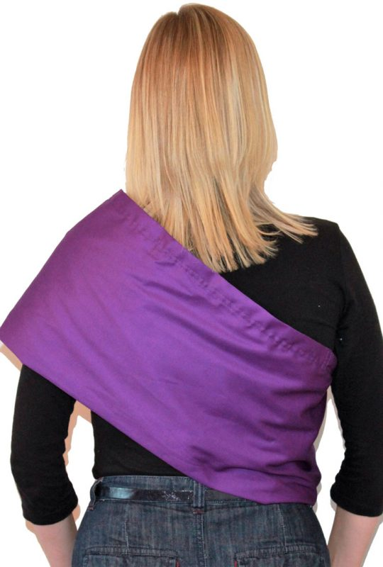 2dc886c5895 Place the sling over your head and rest it on your shoulder. It should sit  across your body like a sash. Ensure the fabric is smooth across your back.