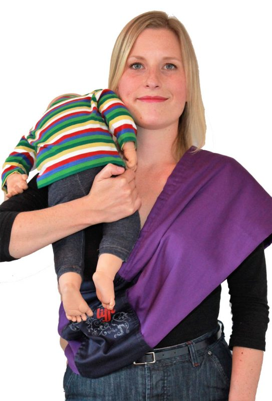 9e6e8ed21a2 Lift your baby up on the opposite shoulder to your sling and hold your baby  in place with one hand.